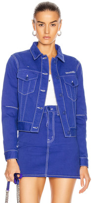 Off-White Long Denim Jacket in Blue | FWRD