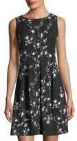 Taylor Floral-Print Scuba Fit & Flare Dress