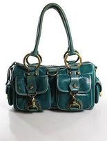 Isabella Fiore Teal Green Contrast Trim Embossed Leather Medium Shoulder Bag