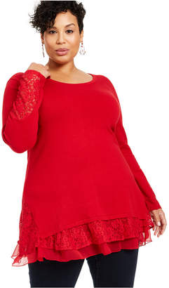 Style&Co. Style & Co Plus Size Lace-Trim Tiered Tunic