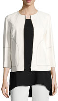Lafayette 148 New York Levine Topstitched Zip-Front Lambskin Leather Jacket, White