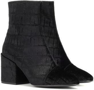 Dries Van Noten Croc-embossed velvet ankle boots