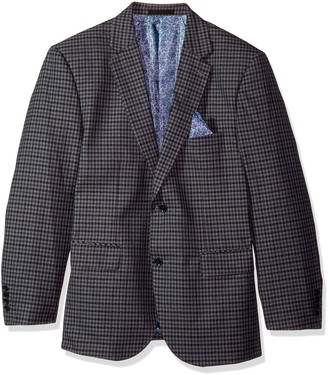 Alexander Julian Colours Men's Big and Tall Big & Tall Single Breasted Modern Fit Check Suit Jacket