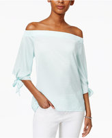 Bar III Off-The-Shoulder Hammered-Satin Top, Only at Macy's