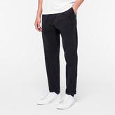 Paul Smith Men's Dark Navy Brushed-Cotton Trousers With Drawstring-Waist