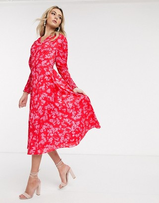 NEVER FULLY DRESSED midaxi dress with shirred sleeve detail in contrast floral