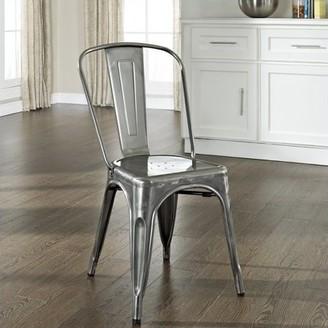 Crosley Furniture Amelia Metal Cafe Chair in Galvanized, 2pk