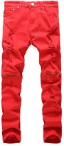 Enrica Men's Ripped Skinny Distressed Destroyed Slim Fit Zipper Jeans with Holes