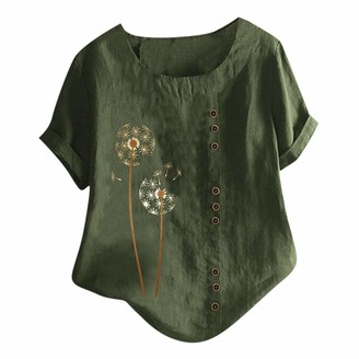Beetlenew Womens Blouses Women Tops Large Size Vintage Boho Dandelion Pattern Print Tunics with Buttons Casual Loose Short Sleeve Tee Shirts Summer Beach Baggy O-Neck Blouse Retro Embroidered T-Shirts