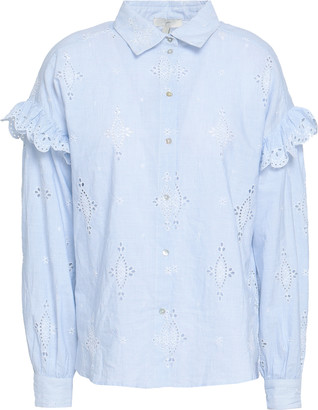 Joie Cenedra Striped Broderie Anglaise-trimmed Cotton Top