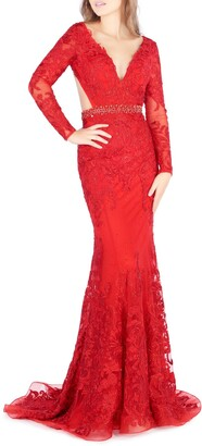 Mac Duggal Long Sleeve Lace Cutout Trumpet Gown