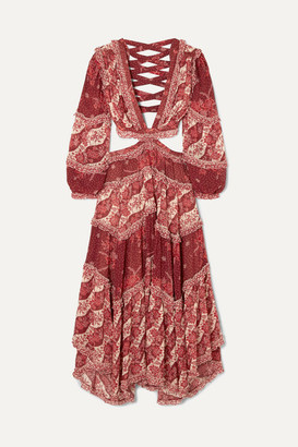 Zimmermann Eyes On Summer Cutout Printed Cotton And Silk-blend Chiffon Maxi Dress - Magenta