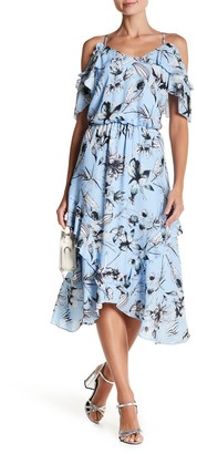 Parker Cold Shoulder Ruffle Midi Dress