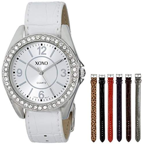 XOXO Women's XO9054 Seven-Color Croco Interchangeable Strap Watch Set