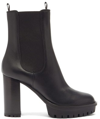 Gianvito Rossi Platform 110 Leather Ankle Boots - Black