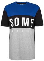 Topman Navy Somewhere Panel T-Shirt