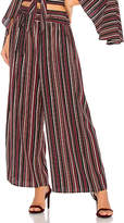 Band of Gypsies Pinstripe Wide Leg Crop Pant in Purple. - size L (also in M,S,XS)