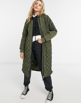 Only maxi quilted jacket in green
