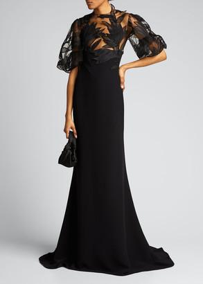 Oscar de la Renta Embroidered Tulle-Bodice Crepe Gown