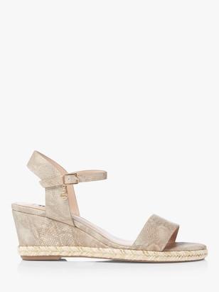 Dune Kindar Wedge Heel Sandals, Metallic Beige