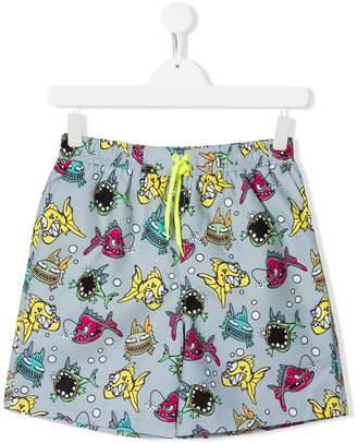 Stella McCartney TEEN fish print swim shorts