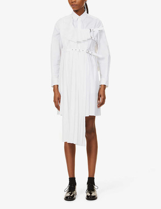 Noir Kei Ninomiya Pleated-panel buckled cotton mini shirt dress