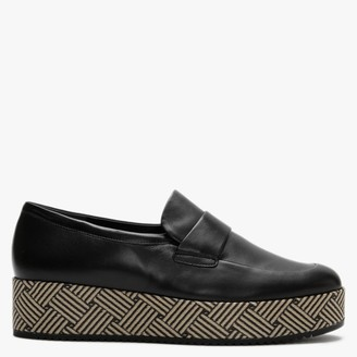 Högl Modesty Black Leather Flatform Loafers