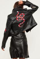 Missguided Petite Exclusive Black Faux Leather Biker Jacket