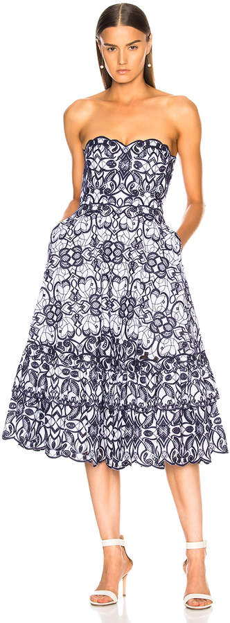 Jonathan Simkhai Scallop Bustier Midi Dress