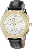 Salvatore Ferragamo 43mm Lungarno Men's Two-Tone Chronograph Watch w/ Leather Strap, Silver/Gold/Black