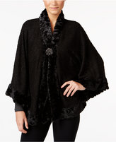 JM Collection Faux-Fur-Trim Poncho, Only at Macy's