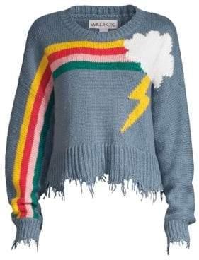 Wildfox Couture Rainbow Storm Fringe Hem Knit Sweater