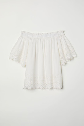 H&M Cotton Blouse with Embroidery - White