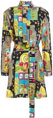 Moschino Tie-neck Printed Woven Mini Dress