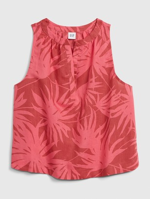 Gap Sleeveless Print Top in Linen-Cotton