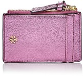 Tory Burch Crinkle Metallic Leather Zip Card Case