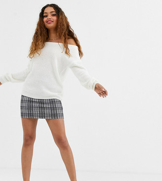 New Look Petite mini skirt in black check