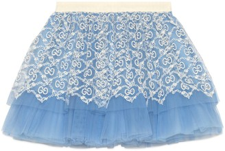 Gucci Baby tulle skirt with GG garland embroidery