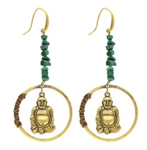T.r.u. by 1928 14 K Gold Dipped Hoop Earring with Suspended Buddha and Semi-Precious Malachite