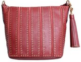 Michael Kors Women's Medium Brooklyn Grommet Leather Feed Bag Leather Shoulder Tote