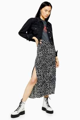 Topshop Womens Black And White Floral Print Pleat Midi Skirt - Monochrome