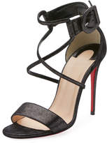 Christian Louboutin Choca 100mm Metallic Suede Red Sole Sandal