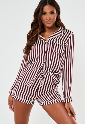 Missguided Burgundy Striped Satin Drawstring Bag Long Sleeve Pyjama Set