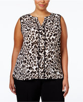 Calvin Klein Plus Size Split-Neck Printed Top