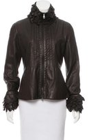 Emporio Armani Leather Fringe-Trimmed Jacket