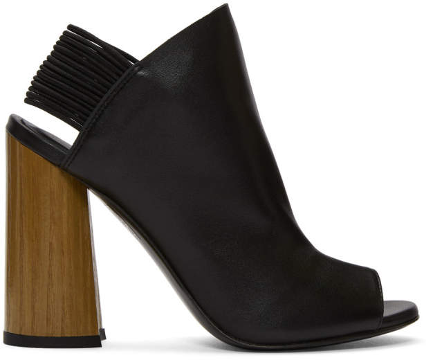 3.1 Phillip Lim Black Leather Drum Slingback Heels