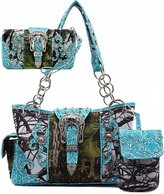 Cowgirl Trendy Western Concealed Carry Camouflage Buckle Purse Handbag Shoulder Bag Phone Pocket Wallet 3 IN 1 Set Turq