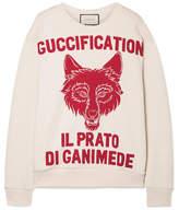 Gucci Oversized Printed Cotton-terry Sweatshirt - Ecru