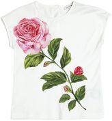 Dolce & Gabbana Rose Cotton Jersey T-Shirt