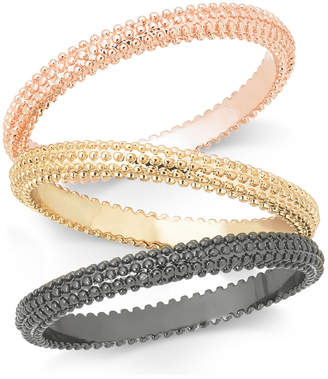 INC International Concepts Inc Tri-Tone 3-Pc. Set Textured Stackable Rings